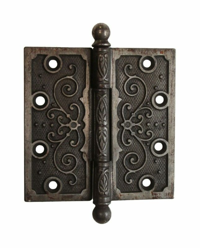 Victorian Cast Iron 4.5 x 4.5 Ball Tip Butt Antique Door Hinge