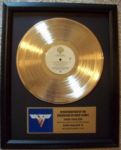 Van Halen II Gold LP Record + Mini Album Disc Not a Award in frame with plaque