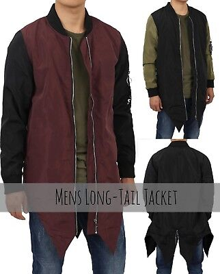 Mens LONG TAIL JACKET Casual Coat Urban Harem Street Coat Zip Design Tuxed Style - Long Tail Jacket
