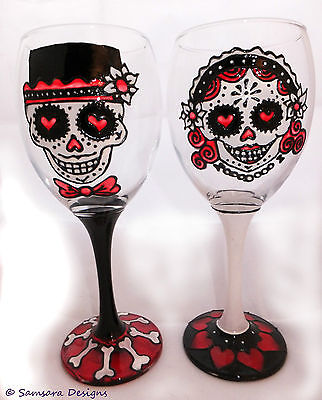 Day of the Dead Bride and Groom Wine Glass Día de Muertos Wedding Sugar Skull  - Day Of The Dead Wine Glasses