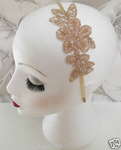 Vintage Beaded Head Piece Headband 1920s Bridal Flapper Great Gatsby Prom I06
