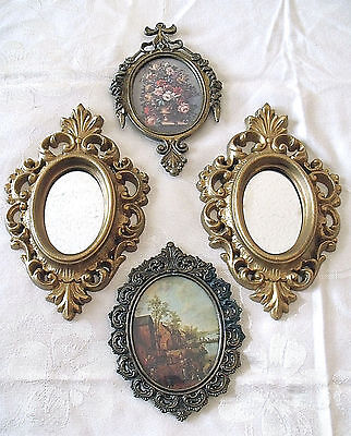 Lot 4 Assorted Vtg Italian Brass Florentine Framed Pictures - USA Syroco Mirrors