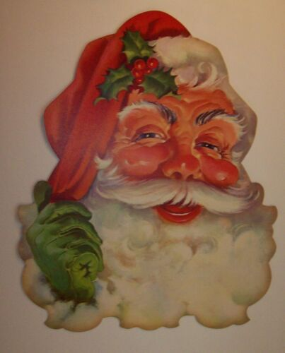 Vintage Decoration, DIE CUT CARDBOARD SANTA CLAUS FACE CHRISTMAS PIN-UP 1950