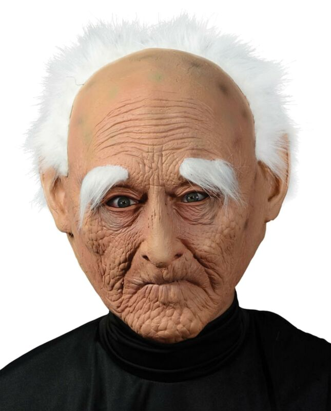 Creepy Old Man Gramps Halloween Mask with Hair NEW