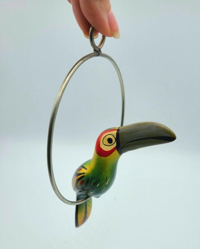 Mexico Folk Art Pottery Small Ceramic Bird Green Toucan Metal Ring Perch