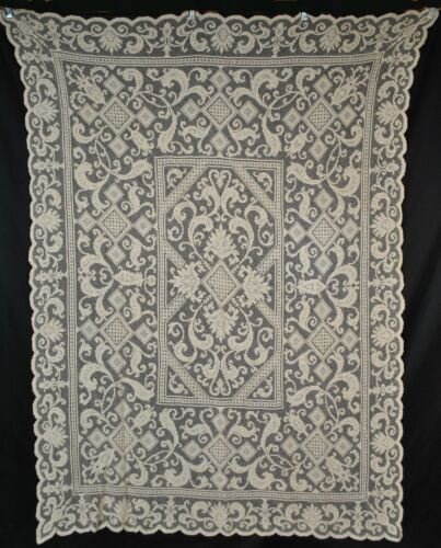 "Antique Mondano Knotted Filet Net Mesh Lace Tablecloth, 79"" x 58"""