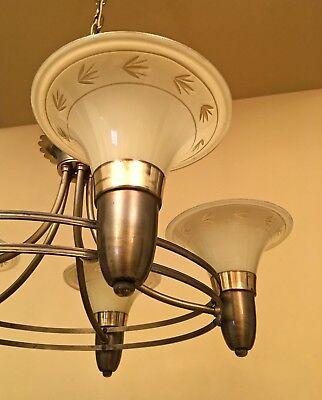 Vintage Lighting 1940s chandelier custard glass shades