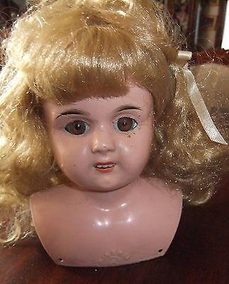 Beautiful Antique 1900's Germany Minerva Tin Doll Head 6''