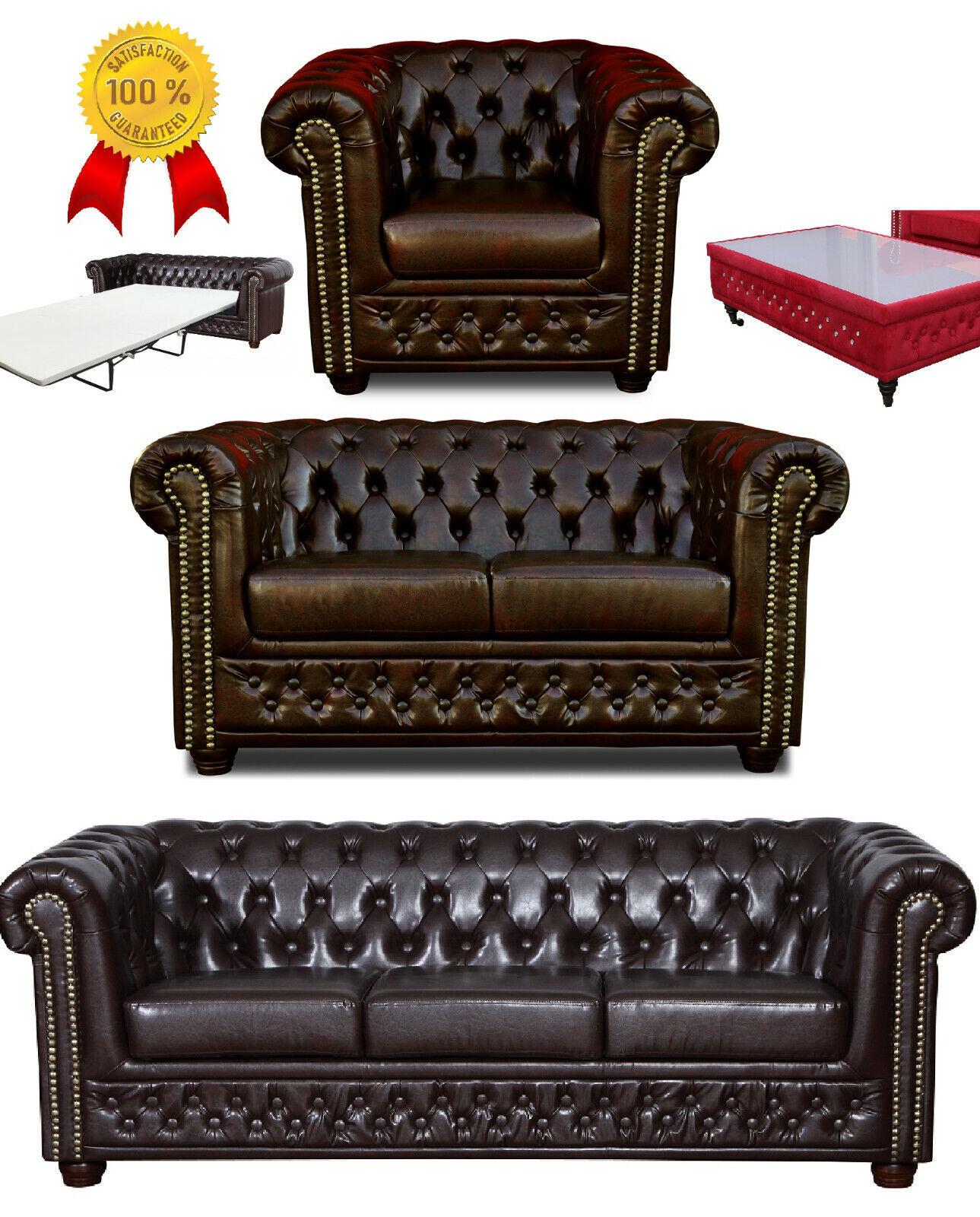 % Chesterfield Sofa 3 + 2 Sitzer + Sessel Hocker Tisch Bettsofa Braun Kunstleder