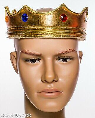 Kings Crown Gold Lame' über Schaum Weich Flexibel Kostüm Krone W Jewels