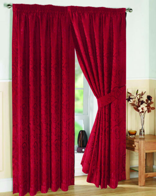 Viceroy One Pair Red Fully Lined Jacquard Curtains 90 X 72