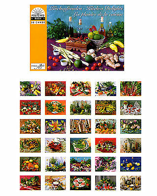 Postkartenbuch Küchenfreuden 30  Postkarten Obst, Gemüse, Kräuter.Stillleben NEU