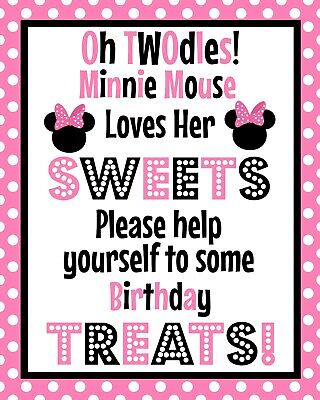Oh Twodles Birthday (Disney Minnie Mouse Oh TWOdles Stand Up Sweet Treat Sign 8.5x11 in)