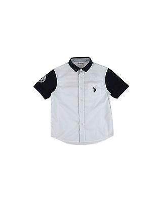 Camicia U.S.POLO ASSN. colletto in cotone a costina logo ricamato SCONTATO