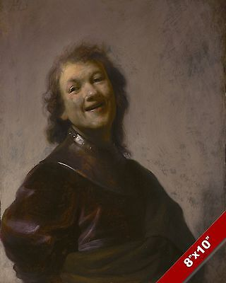 MASTER ARTIST REMBRANDT SELF PORTRAIT LAUGHING PAINTING ART REAL CANVAS PRINT