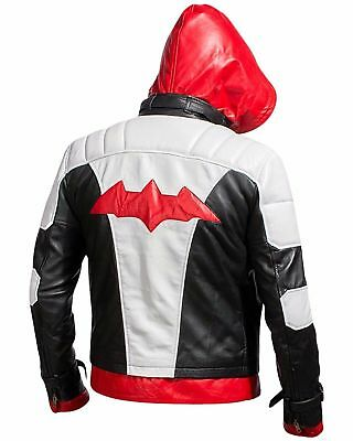 New Batman Arkham Knight Game Red Hood Genuine Leather Jacket Halloween Costume