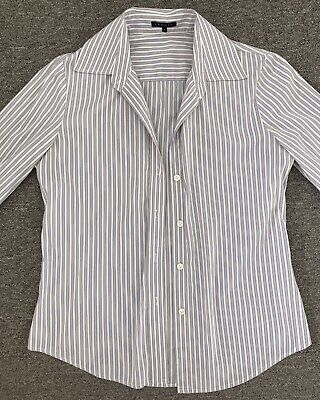 Theory Women Shirt Size P Small Cotton Blend Long Sleeve Button Up Striped