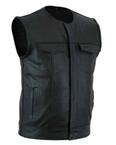 Men's SOA Collarless Leather Vest Motorcycle Biker Club Conc