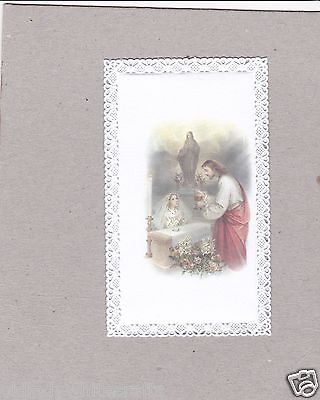 Vintage Catholic First Communion Girl Holy Card Made in Italy Lace Gold Guild