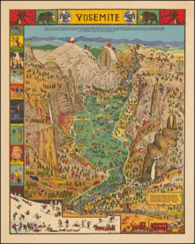 Yosemite National Park Humorous 1931 pictorial map POSTER Jo Mora 45443