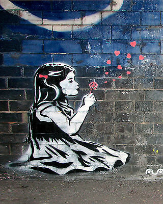 Banksy Dandelion Girl 8 x 10 inch Canvas Print Street Art Graffiti