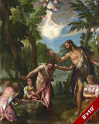CATHOLIC CHURCH BAPTISM OF JESUS BY JOHN PAINTING ART REAL CANVAS PRINT Baptism Of Jesus Painting