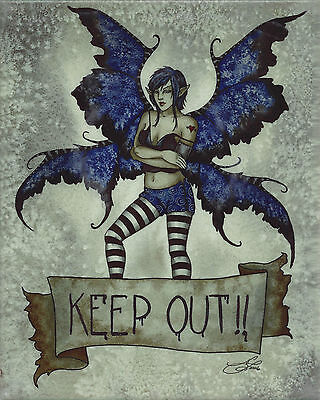 KEEP OUT Amy Brown Fairy Ceramic Art Wall Tile faery faerie plaque ()