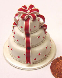 1-2-Scale-3-Tier-Wedding-Cake-With-Bow-Dolls-House-Miniature-Food-Accessory-X
