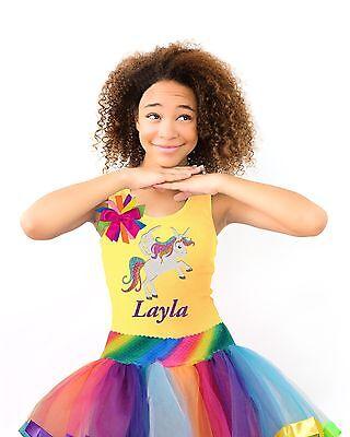 Bubblegum Divas Rainbow Unicorn Shirt Birthday Glow Party Outfit Tween Girls