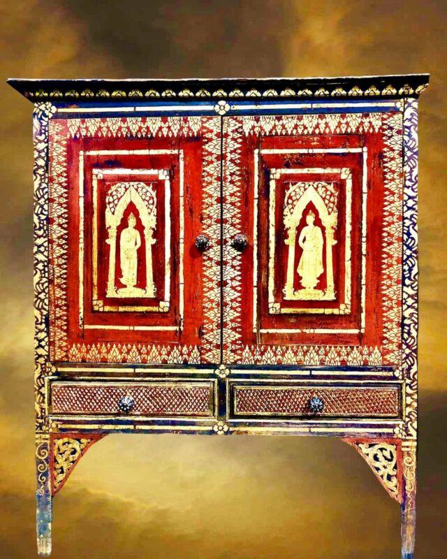 Antique Thai Buddhist Hand Painted Red  Gold Buddha Wood Cabinet Spiritual Altar