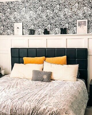 Roommates Tropical Leaf Black and White Boho Botanical Peel and Stick Wallpaper  Roommates Peel And Stick