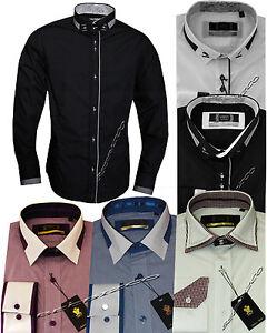 New-Mens-Designer-Voeut-Italian-Formal-Slim-Fit-Dress-Shirt-Long-Sleeved-S-XXL
