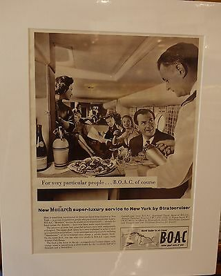 Original Vintage Advert mounted ready to frame B.O.A.C  1957