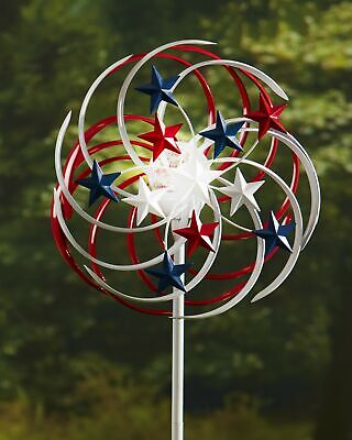 Double-Spiral Solar Spinner - Lighted Lawn and Garden Decoration - Patriotic Lighted Lawn Decorations