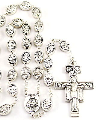 NEW MADE IN ITALY SAINT ST. FRANCIS OF ASSISI / ST. CLARE SILVER METAL ROSARY on Rummage
