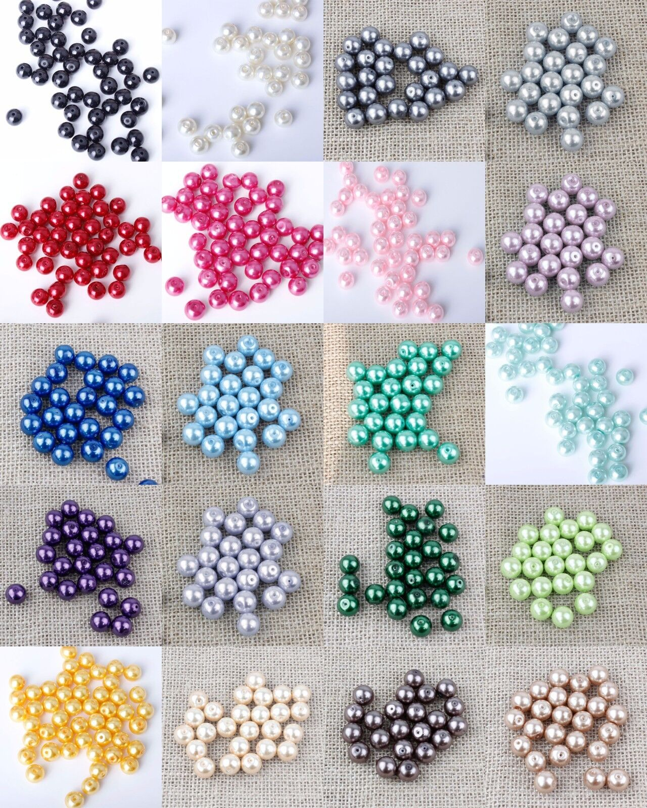 Jewellery - Glass Pearl Beads 4,6,8,10,12mm -{[Buy 3 Get 3 Free]}- Jewellery Making Crafts