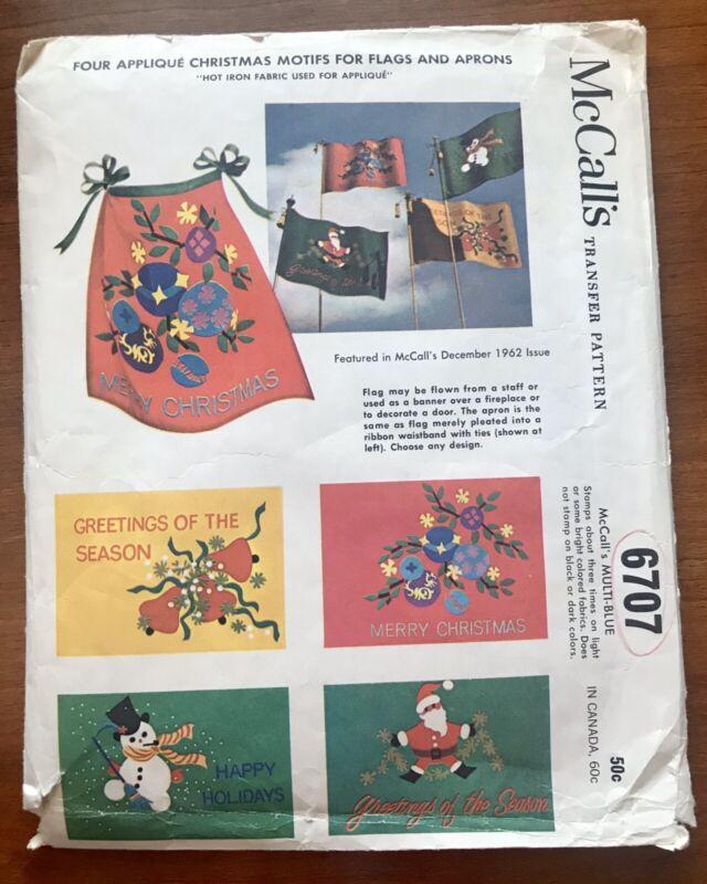 Vintage 1962 McCall's 6707 - 4 Appliqué Christmas Motifs Transfer Pattern Uncut