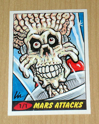 2012 Topps Heritage MARS ATTACKS sketch Lin Workman 1/1 color card