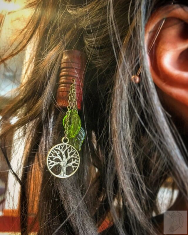Nature Goddess Bloodwood Dread Bead/ Hair Bead with Glass Leafs & Tree of Life D