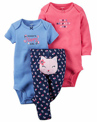 Carters 6 9 Months Pink Kitty Bodysuit Pants Set Baby Girl Clothes