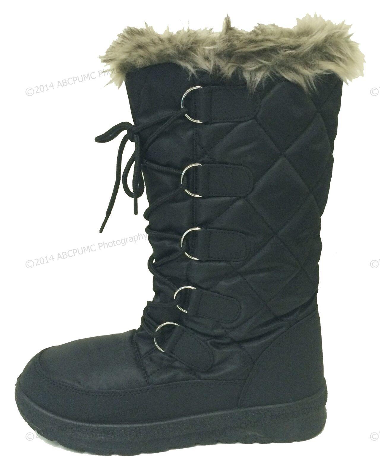 Women's Winter Boots Snow Fur Warm Insulated Waterproof Zipper Ski Shoes, Sizes