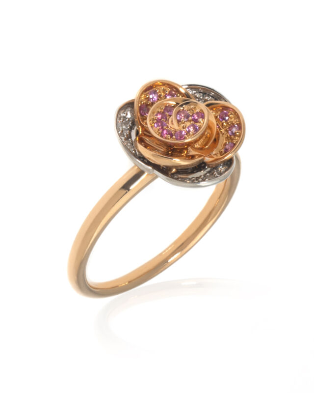 Mimi Milano Rose 18k Rose & White Gold Diamond Sapphire Ring Sz 7.25 A449C8BZ2
