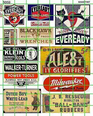 5059 DAVE'S DECALS  ALE8 1 SODA, BATTERIES MIXED TOOLS PAINT ADVERTISING SIGNAGE