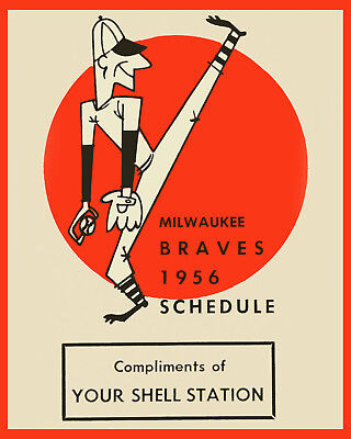 1956 Milwaukee Braves Game Schedule Art Poster - 8x10 Color Photo