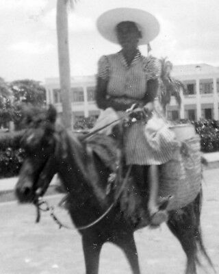 ORIGINAL VINTAGE PHOTOS LOT: Haiti Woman Lady Horse Rider Port-au-Prince 50's