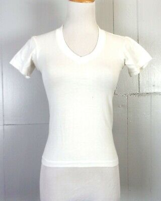 vtg 60s 70s Sears Best Plain White V-Neck T-Shirt Undershirt Boys M