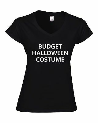 BUDGET HALLOWEEN COSTUME Fitted Ladies V-Neck T-Shirt funny t shirt PARTY GIFT