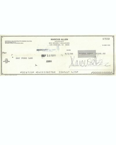 Marcus Allen Reproduction Cancelled Check and 8 x 10 Photo