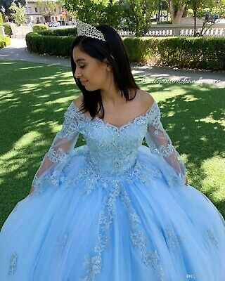 Sky Blue Lace Beaded Vintage Quinceanera Prom Dress V-neck Long Sleeve Ball Gown