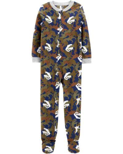 Boys Carters Fleece Footed Pajama Blanket Sleeper Size 6 7 8 12 Dinosaur Camo